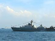 越南海军黎太祖012号导弹护卫舰参加国际舰队检阅活动