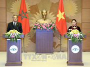 越南国会主席阮氏金银与摩洛哥众议院议长举行联合记者会
