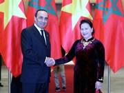 越南国会主席阮氏金银与摩洛哥众议院议长哈比博·马勒克举行会谈
