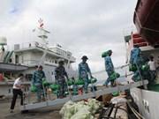 林同省向长沙岛县军民赠送40多吨蔬果