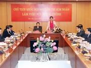 越南国会主席阮氏金银到财政部调研