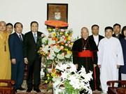 越南祖国阵线中央委员会主席陈青敏复活节期间开展走访慰问活动