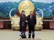 老挝党、国家与政府领导分别会见越南国会代表团