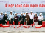越南国会主席阮氏金银出席广宁省白藤大桥龙骨铺设仪式