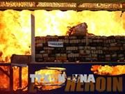 国际禁毒日:东南亚多国举行大规模毒品销毁活动 展示禁毒决心