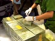越南公安破获跨境贩毒案 缴获179块海洛因砖