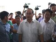 胡志明市市委书记阮善仁造访守添新区项目安置居民