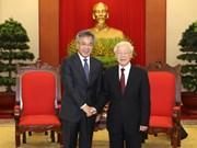 WEF ASEAN 2018:越共中央总书记阮富仲会见中国国务院副总理胡春华
