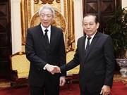 越南政府常务副总理张和平会见新加坡副总理张志贤