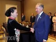 越南国会主席阮氏金银会见哈萨克斯坦马日利斯议长