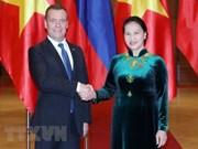越南国会主席阮氏金银会见俄罗斯总理梅德韦杰夫