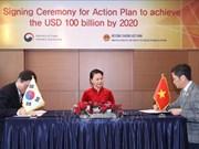 越南与韩国签署谅解备忘录  力争2020年实现双边贸易额达1000亿美元目标