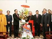 2018年圣诞节:陈青敏看望并慰问河内市天主教总教区和北方福音教协会