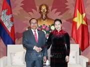 越南国会主席阮氏金银会见柬埔寨王国参议院副议长狄诺