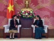 越南国会常务副主席丛氏放会见老挝审计署审计长万通·西潘敦