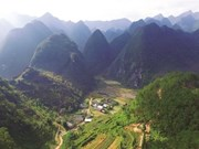 河江省同文岩石高原全球地质公园吸引成千上万游客前来参观游览
