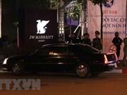 美国总统特朗普抵达河内万豪酒店