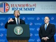 美朝领导人河内会晤:特朗普强调将不会对朝鲜施加新一轮的制裁措施