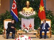 越南政府总理阮春福会见朝鲜最高领导人金正恩