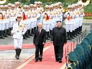 阮富仲为朝鲜最高领导人金正恩举行欢迎仪式并举行会谈