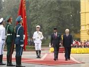 阮富仲主持仪式欢迎文莱苏丹哈桑纳尔·博尔基亚访问