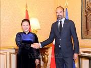 越南国会主席阮氏金银会见法国总理爱德华·菲利普