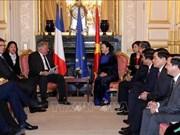 越南国会主席阮氏金银与法国参议院议长拉尔歇就许多问题交换看法