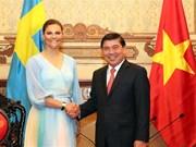 胡志明市领导会见瑞典女王储维多利亚
