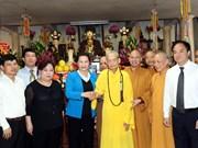 国会主席阮氏金银造访越南佛教教会法主释普慧长老
