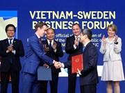 越南政府总理阮春福和瑞典首相斯蒂凡·洛夫文出席越瑞企业论坛