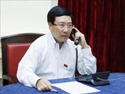 越南政府副总理兼外交部长范平明与新加坡外长维文进行电话会谈