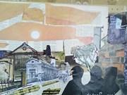 用报纸制成的艺术绘画作品充满昔日与今日的生活气息