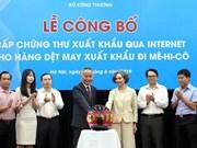越南为按照CPTPP出口墨西哥的纺织品颁发电子证书