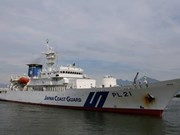 岘港市领导会见日本海岸警卫队训练舰代表团