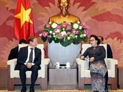 越南国会主席阮氏金银会见欧盟驻越代表团团长安格莱特
