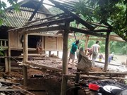 越南北部山区遭受第三号台风的袭击