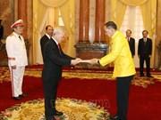 越共中央总书记、国家主席阮富仲接受各国驻越大使递交国书