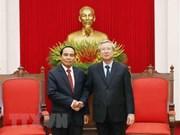 越共中央书记处常务书记陈国旺会见老挝代表团