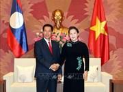 越南国会主席阮氏金银会见老挝国会副主席本邦∙布达纳冯