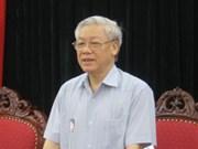 越共中央总书记阮富仲在越南科技部指导工作