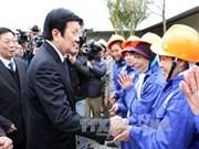 越南国家主席张晋创探访南河内辅助工业区