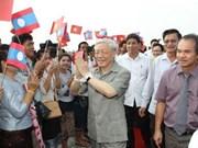 阮富仲总书记访问老挝并贺年