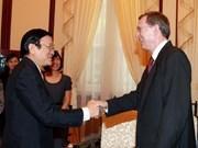 越南国家主席张金创会见挪威驻越大使