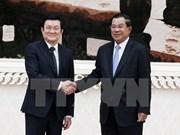 越南国家主席张晋创密集会见柬埔寨领导人
