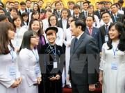 """越南国家主席张晋创会见""""五好""""大学生"""