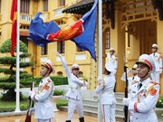 组图:东盟会旗升旗仪式在河内举行  庆祝东盟成立53周年