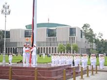 升国旗降半旗仪式在巴亭广场隆重举行 为陈大光逝世致哀(组图)