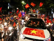 AFF Suzuki Cup 2018:越南各地球迷纷纷涌上街头,欢庆越南国足的胜利 (组图)