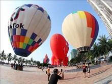 岘港市举行热气球飞行表演(组图)
