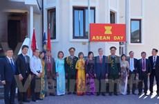 东盟旗升旗仪式在越南驻乌克兰大使馆举行